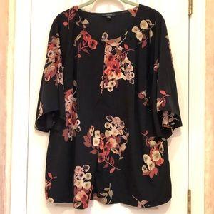 Alfani Black Floral Front Zip Top